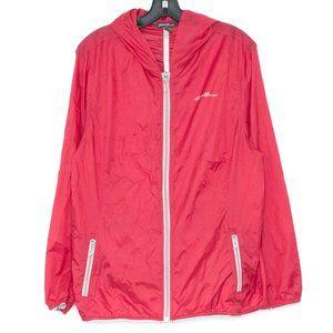 Eddie Bauer Rain Jacket Full Zip Hooded Red XL DZ